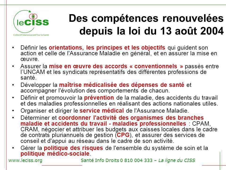 Des compétences renouvelées depuis la loi du 13 août 2004 www.leciss.orgSanté Info Droits 0 810 004 333 – La ligne du CISS Définir les orientations, l