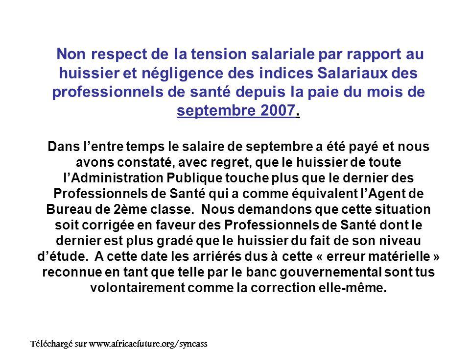 Non respect de la tension salariale par rapport au huissier et négligence des indices Salariaux des professionnels de santé depuis la paie du mois de septembre 2007.