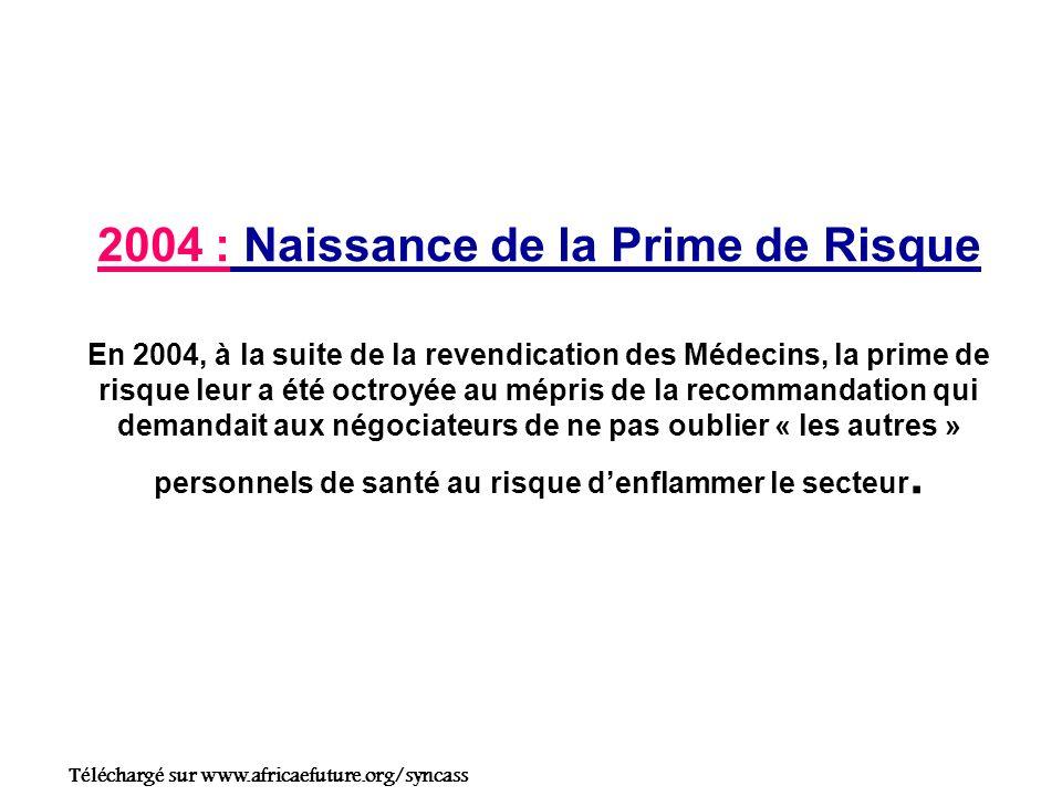 2004 : Naissance de la Prime de Risque En 2004, à la suite de la revendication des Médecins, la prime de risque leur a été octroyée au mépris de la recommandation qui demandait aux négociateurs de ne pas oublier « les autres » personnels de santé au risque denflammer le secteur.