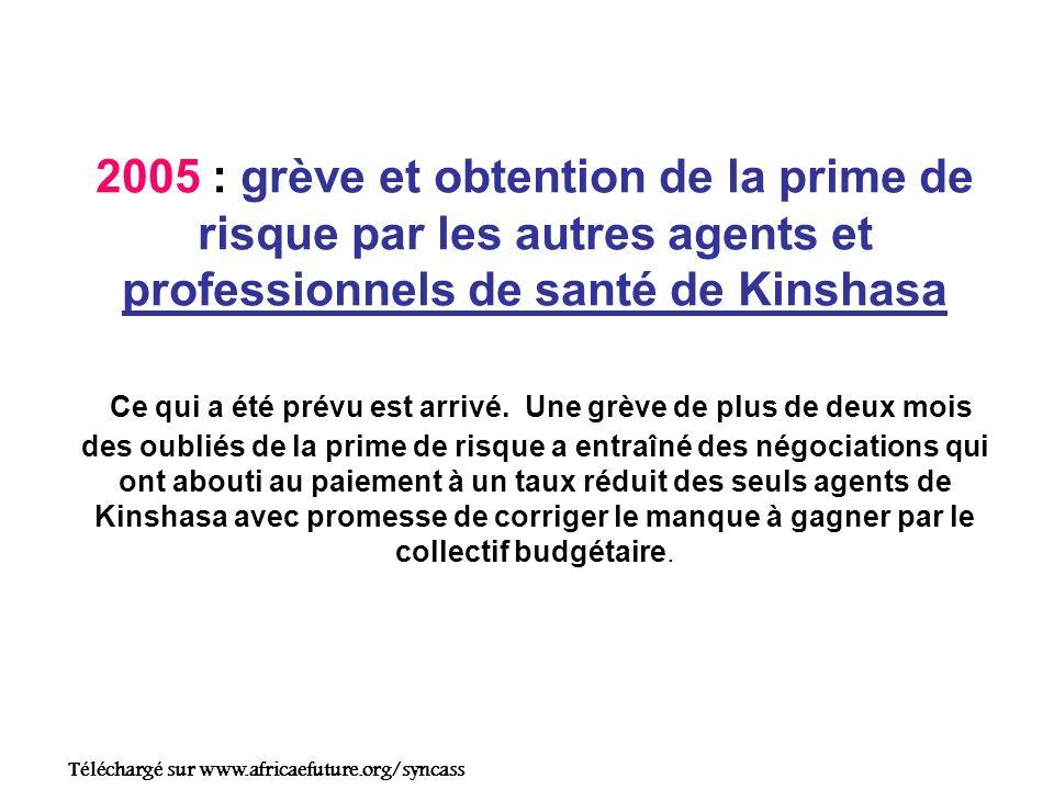 2005 : grève et obtention de la prime de risque par les autres agents et professionnels de santé de Kinshasa Ce qui a été prévu est arrivé.