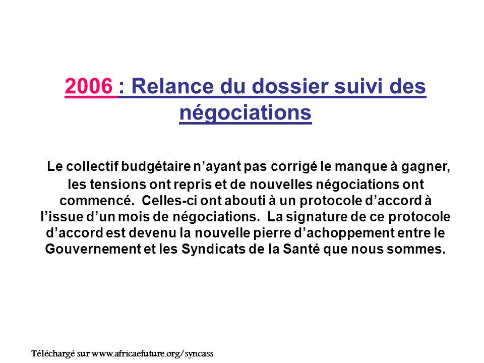 2006 : Relance du dossier suivi des négociations Le collectif budgétaire nayant pas corrigé le manque à gagner, les tensions ont repris et de nouvelles négociations ont commencé.