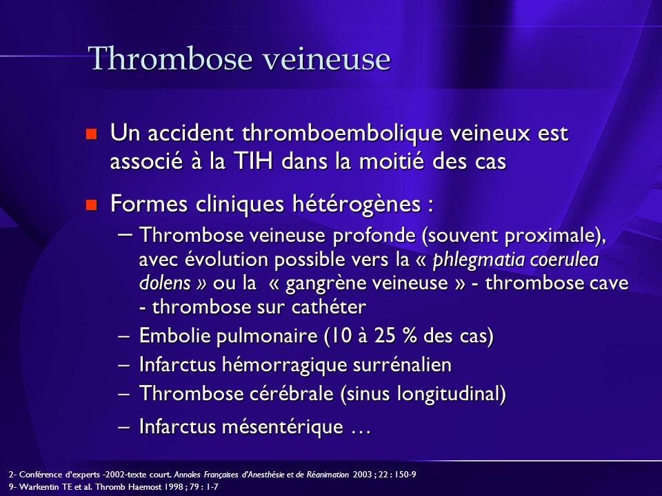 Thrombose veineuse Un accident thromboembolique veineux est associé à la TIH dans la moitié des cas Un accident thromboembolique veineux est associé à