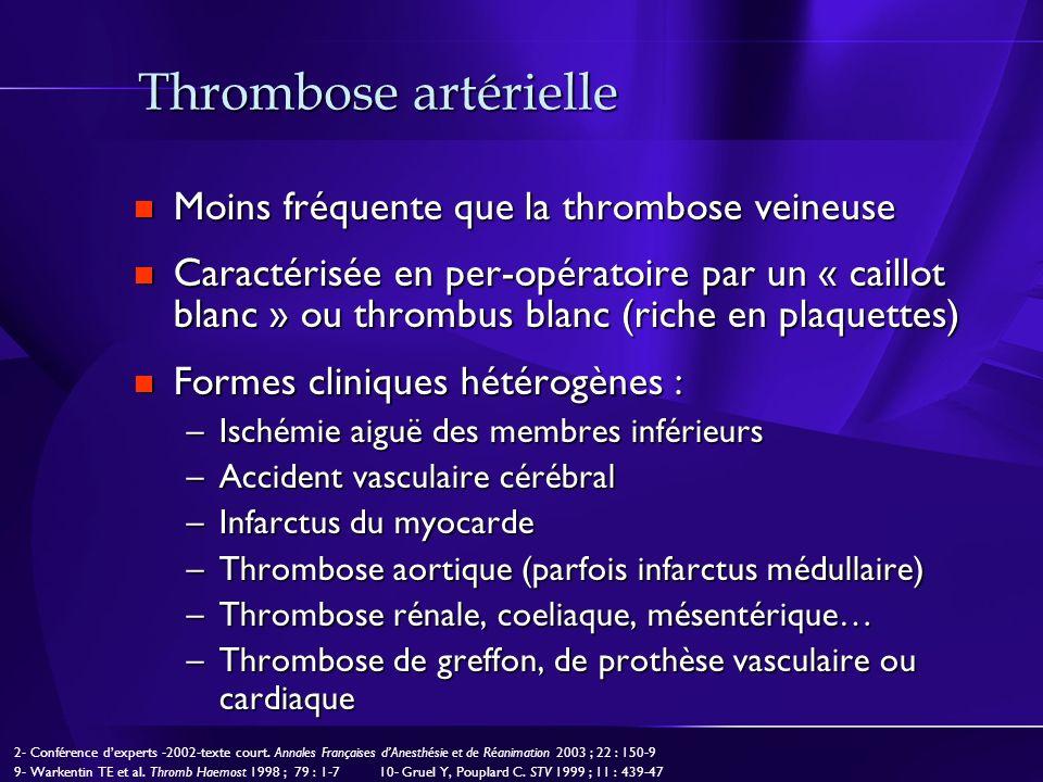 Thrombose artérielle Moins fréquente que la thrombose veineuse Moins fréquente que la thrombose veineuse Caractérisée en per-opératoire par un « caill