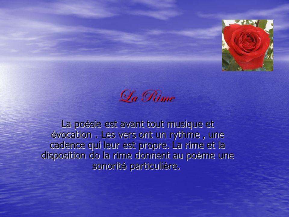 La Rime La po é sie est avant tout musique et é vocation. Les vers ont un rythme, une cadence qui leur est propre. La rime et la disposition do la rim