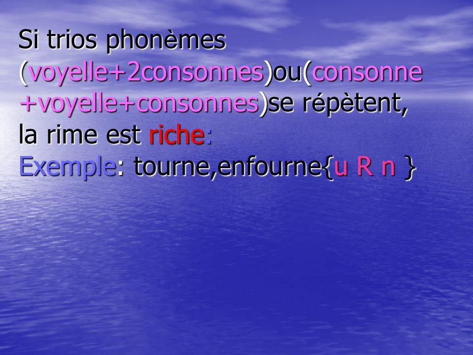 Si trios phonèmes (voyelle+2consonnes)ou(consonne +voyelle+consonnes)se répètent, la rime est riche: Exemple: tourne,enfourne{u R n }