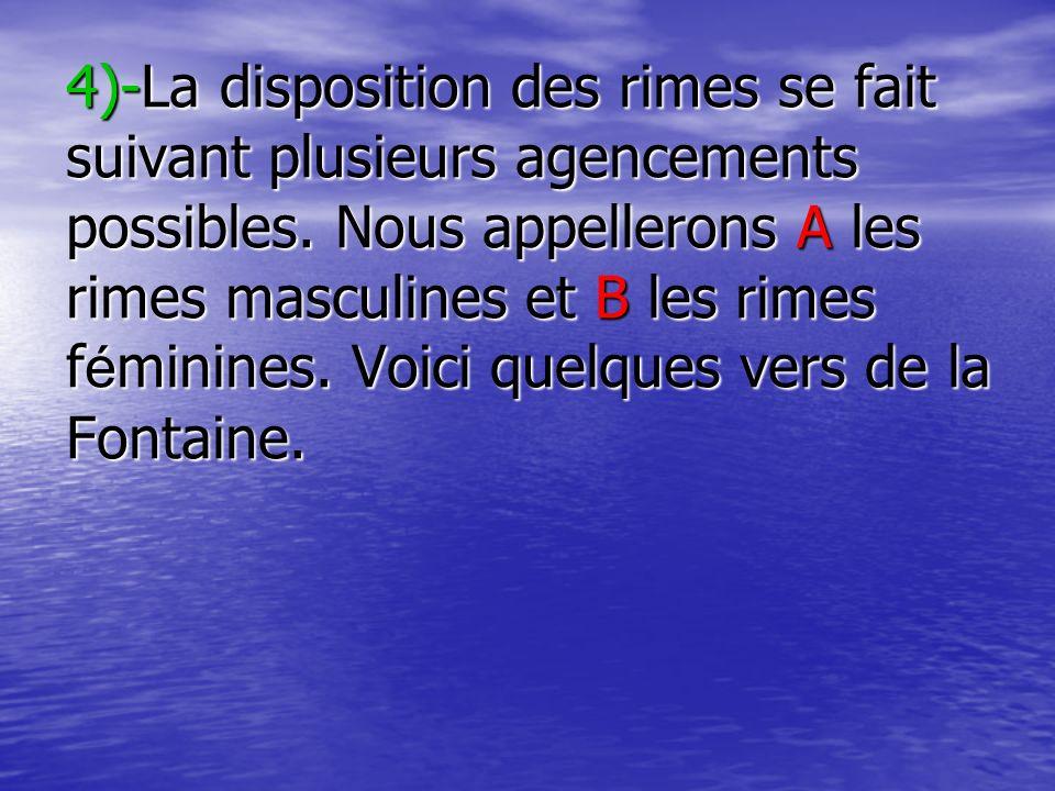 4)-La disposition des rimes se fait suivant plusieurs agencements possibles. Nous appellerons A les rimes masculines et B les rimes f é minines. Voici