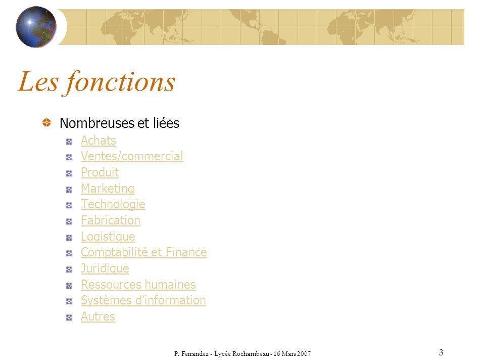 P. Ferrandez - Lycée Rochambeau - 16 Mars 2007 3 Les fonctions Nombreuses et liées Achats Ventes/commercial Produit Marketing Technologie Fabrication