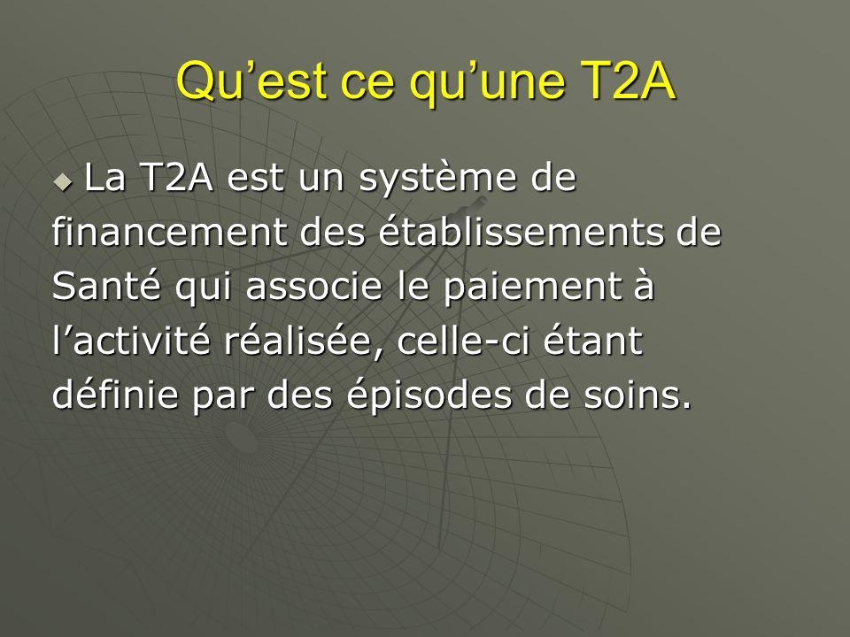 Quest ce quune T2A La T2A est un système de La T2A est un système de financement des établissements de Santé qui associe le paiement à lactivité réalisée, celle-ci étant définie par des épisodes de soins.