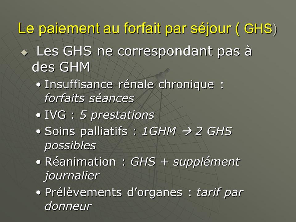 Le paiement au forfait par séjour ( GHS) Les GHS ne correspondant pas à des GHM Les GHS ne correspondant pas à des GHM Insuffisance rénale chronique : forfaits séancesInsuffisance rénale chronique : forfaits séances IVG : 5 prestationsIVG : 5 prestations Soins palliatifs : 1GHM 2 GHS possiblesSoins palliatifs : 1GHM 2 GHS possibles Réanimation : GHS + supplément journalierRéanimation : GHS + supplément journalier Prélèvements dorganes : tarif par donneurPrélèvements dorganes : tarif par donneur
