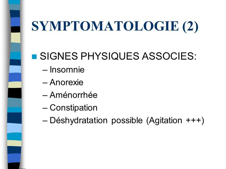 SYMPTOMATOLOGIE (2) SIGNES PHYSIQUES ASSOCIES: –Insomnie –Anorexie –Aménorrhée –Constipation –Déshydratation possible (Agitation +++)