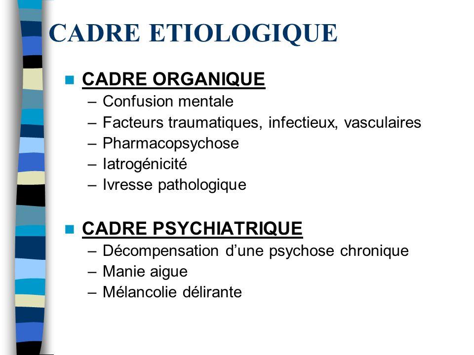 CADRE ETIOLOGIQUE CADRE ORGANIQUE –Confusion mentale –Facteurs traumatiques, infectieux, vasculaires –Pharmacopsychose –Iatrogénicité –Ivresse patholo