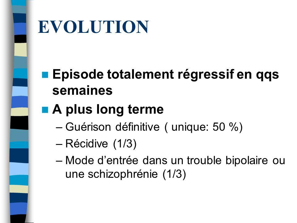EVOLUTION Episode totalement régressif en qqs semaines A plus long terme –Guérison définitive ( unique: 50 %) –Récidive (1/3) –Mode dentrée dans un tr