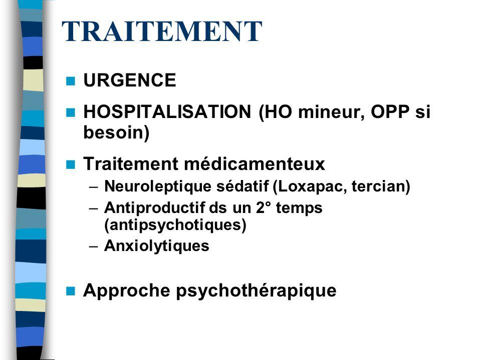 TRAITEMENT URGENCE HOSPITALISATION (HO mineur, OPP si besoin) Traitement médicamenteux –Neuroleptique sédatif (Loxapac, tercian) –Antiproductif ds un