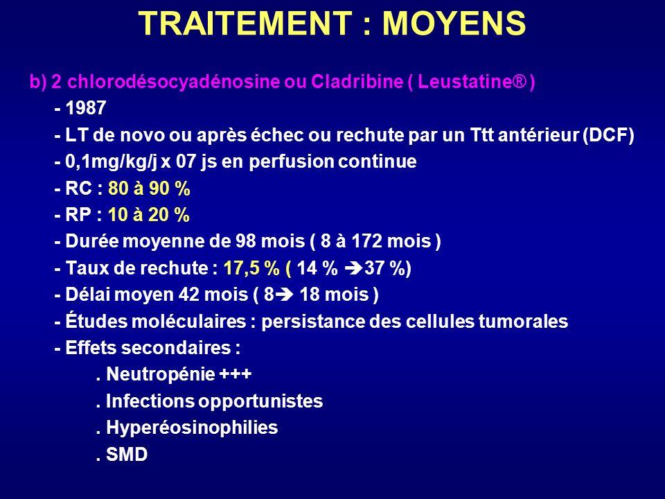 TRAITEMENT : MOYENS b) 2 chlorodésocyadénosine ou Cladribine ( Leustatine® ) - 1987 - LT de novo ou après échec ou rechute par un Ttt antérieur (DCF)