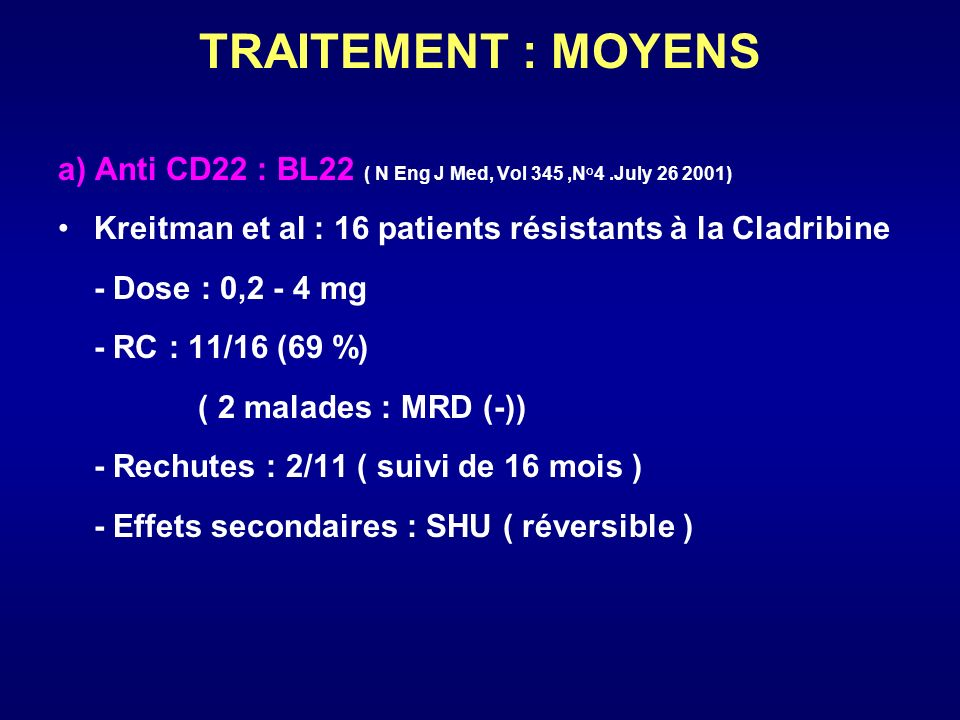 TRAITEMENT : MOYENS a) Anti CD22 : BL22 ( N Eng J Med, Vol 345,N°4.July 26 2001) Kreitman et al : 16 patients résistants à la Cladribine - Dose : 0,2