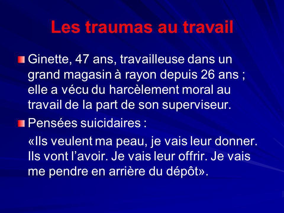 Les traumas au travail Ginette, 47 ans, travailleuse dans un grand magasin à rayon depuis 26 ans ; elle a vécu du harcèlement moral au travail de la p