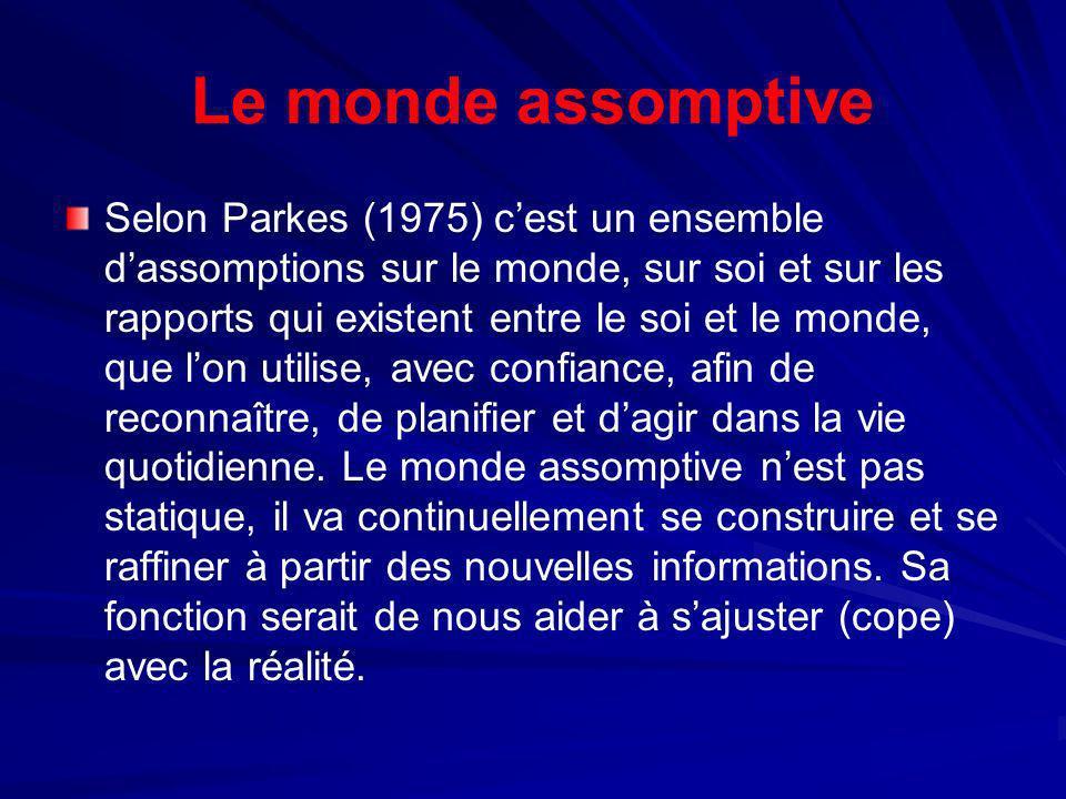 Le monde assomptive Selon Parkes (1975) cest un ensemble dassomptions sur le monde, sur soi et sur les rapports qui existent entre le soi et le monde,