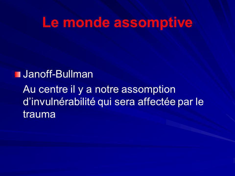 Le monde assomptive Janoff-Bullman Au centre il y a notre assomption dinvulnérabilité qui sera affectée par le trauma