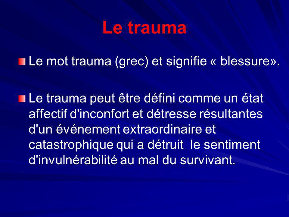 Le trauma Le mot trauma (grec) et signifie « blessure». Le trauma peut être défini comme un état affectif d'inconfort et détresse résultantes d'un évé