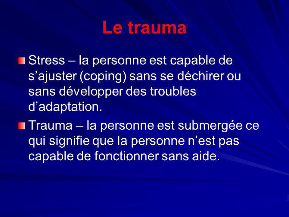 Les traumas au travail Trois groupes de personnes qui sont les plus vulnérables : – –la victime primaire, celui ou celle qui a vécu le trauma ; – –les sauveteurs ou les soignants – –les témoins.