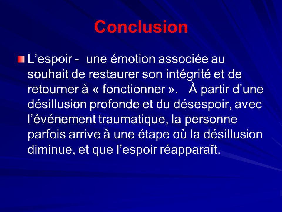 Conclusion Lespoir - une émotion associée au souhait de restaurer son intégrité et de retourner à « fonctionner ». À partir dune désillusion profonde