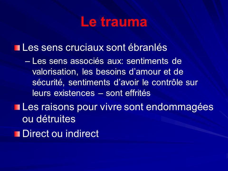 Le trauma Les sens cruciaux sont ébranlés – –Les sens associés aux: sentiments de valorisation, les besoins damour et de sécurité, sentiments davoir l