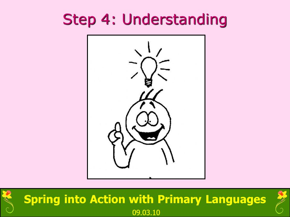 Spring into Action with Primary Languages 09.03.10 Step 4: Understanding