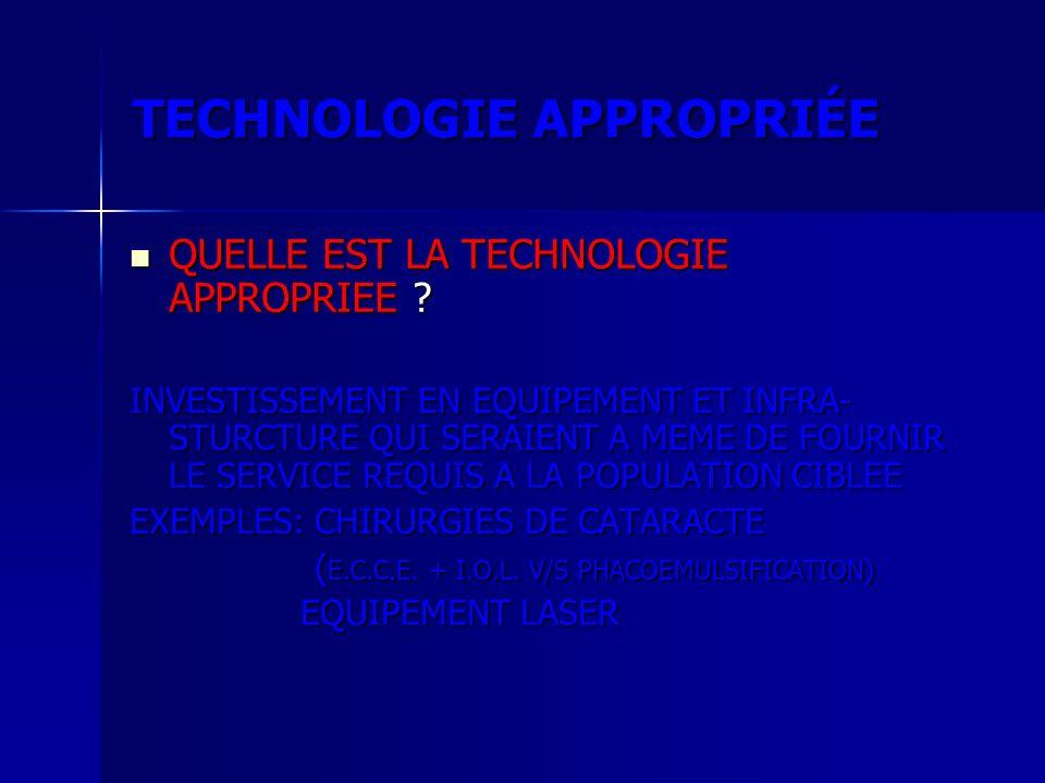 TECHNOLOGIE APPROPRIÉE QUELLE EST LA TECHNOLOGIE APPROPRIEE ? QUELLE EST LA TECHNOLOGIE APPROPRIEE ? INVESTISSEMENT EN EQUIPEMENT ET INFRA- STURCTURE