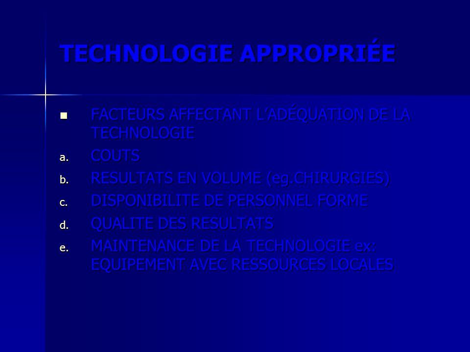 TECHNOLOGIE APPROPRIÉE FACTEURS AFFECTANT LADÉQUATION DE LA TECHNOLOGIE FACTEURS AFFECTANT LADÉQUATION DE LA TECHNOLOGIE a. COUTS b. RESULTATS EN VOLU