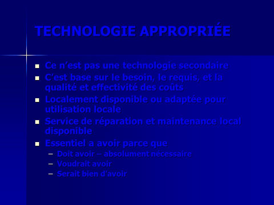 TECHNOLOGIE APPROPRIÉE Ce nest pas une technologie secondaire Ce nest pas une technologie secondaire Cest base sur le besoin, le requis, et la qualité