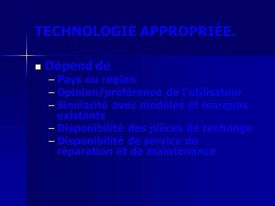 TECHNOLOGIE APPROPRIÉE. Dépend de Dépend de –Pays ou région –Opinion/préférence de lutilisateur –Similarité avec modèles et marques existants –Disponi