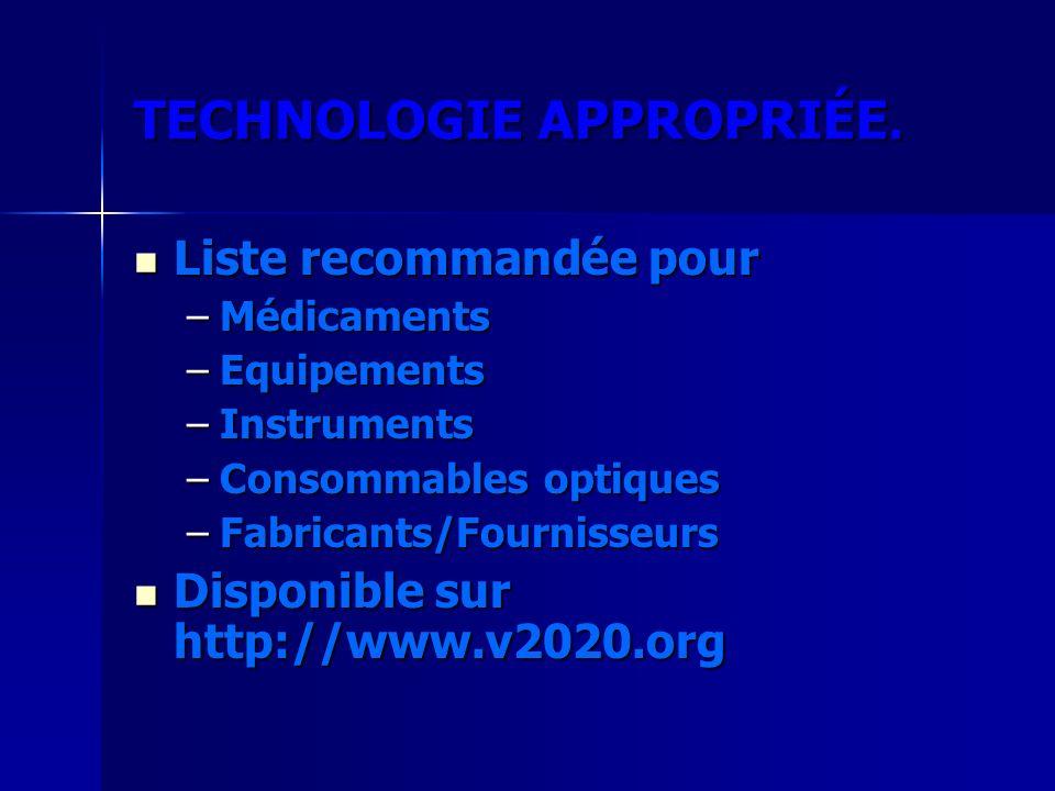 TECHNOLOGIE APPROPRIÉE. Liste recommandée pour Liste recommandée pour –Médicaments –Equipements –Instruments –Consommables optiques –Fabricants/Fourni