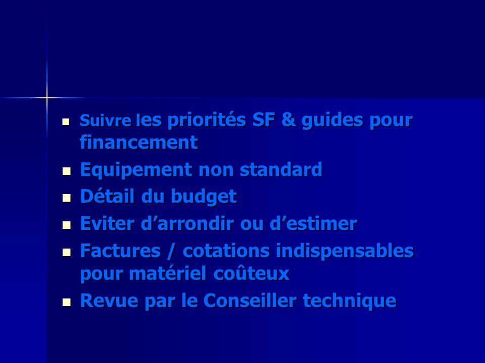 Suivre l es priorités SF & guides pour financement Suivre l es priorités SF & guides pour financement Equipement non standard Equipement non standard