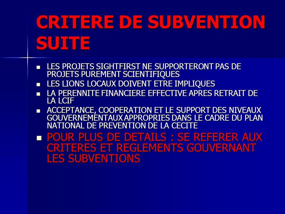 CRITERE DE SUBVENTION SUITE LES PROJETS SIGHTFIRST NE SUPPORTERONT PAS DE PROJETS PUREMENT SCIENTIFIQUES LES PROJETS SIGHTFIRST NE SUPPORTERONT PAS DE