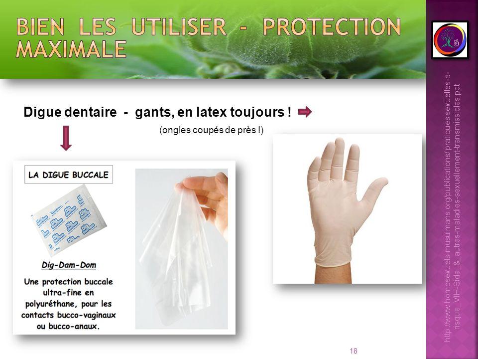 18 Digue dentaire - gants, en latex toujours ! (ongles coupés de près !) http://www.homosexuels-musulmans.org/publications/ pratiques sexuelles-a- ris