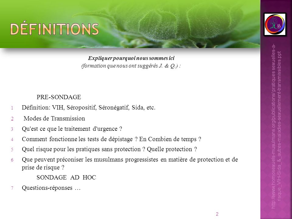 2 Expliquer pourquoi nous sommes ici (formation que nous ont suggérés J. & Q.) : PRE-SONDAGE 1 Définition: VIH, Séropositif, Séronégatif, Sida, etc. 2
