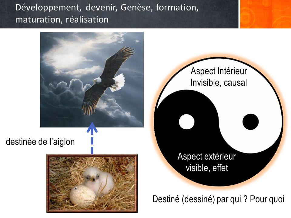 Développement, devenir, Genèse, formation, maturation, réalisation Aspect Intérieur Invisible, causal Aspect extérieur visible, effet destinée de laig