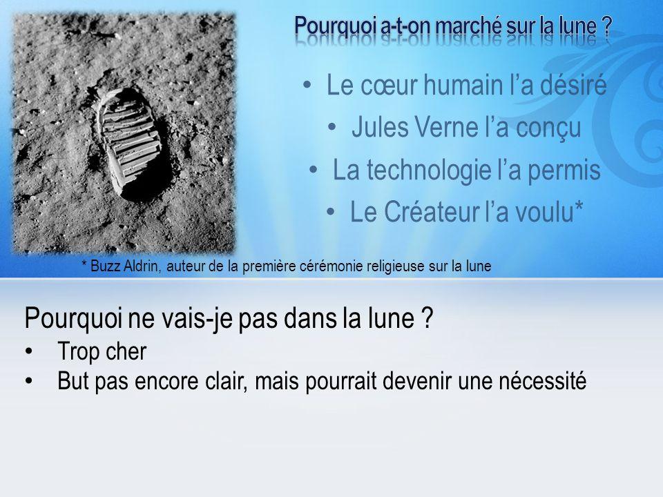 Le cœur humain la désiré Jules Verne la conçu La technologie la permis Le Créateur la voulu* Pourquoi ne vais-je pas dans la lune ? Trop cher But pas