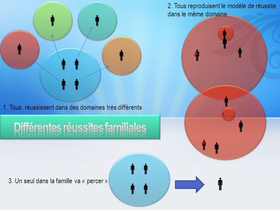 3. Un seul dans la famille va « percer » 2. Tous reproduisent le modèle de réussite dans le même domaine 1. Tous réussissent dans des domaines très di