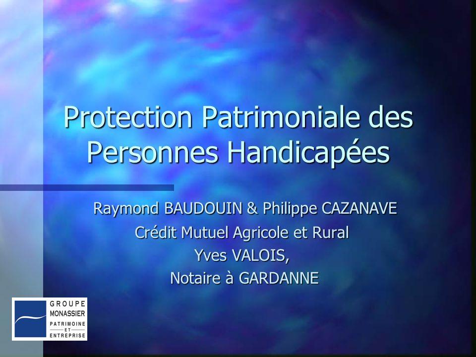 Protection Patrimoniale des Personnes Handicapées Raymond BAUDOUIN & Philippe CAZANAVE Raymond BAUDOUIN & Philippe CAZANAVE Crédit Mutuel Agricole et