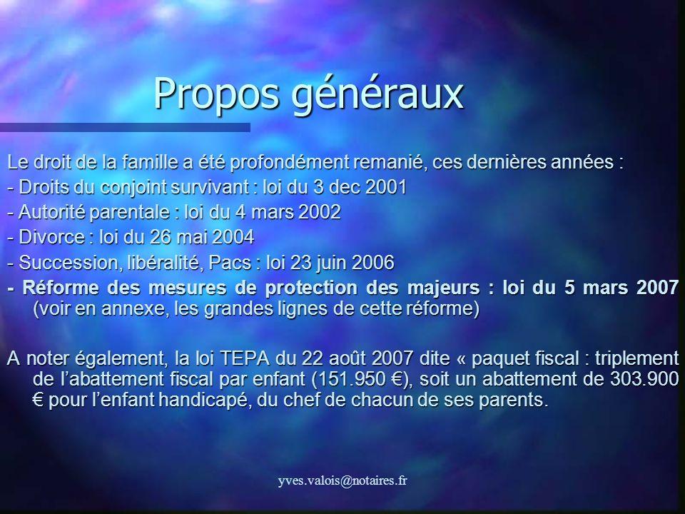 yves.valois@notaires.fr Propos généraux Le droit de la famille a été profondément remanié, ces dernières années : - Droits du conjoint survivant : loi