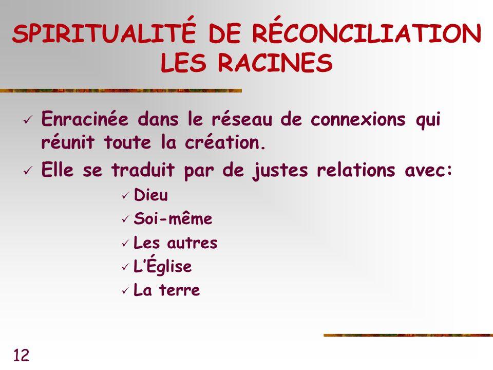 12 SPIRITUALITÉ DE RÉCONCILIATION LES RACINES Enracinée dans le réseau de connexions qui réunit toute la création.