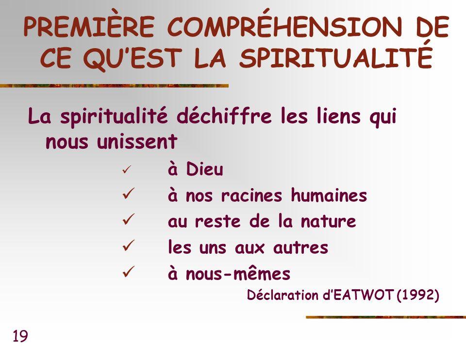 19 PREMIÈRE COMPRÉHENSION DE CE QUEST LA SPIRITUALITÉ La spiritualité déchiffre les liens qui nous unissent à Dieu à nos racines humaines au reste de la nature les uns aux autres à nous-mêmes Déclaration dEATWOT (1992)