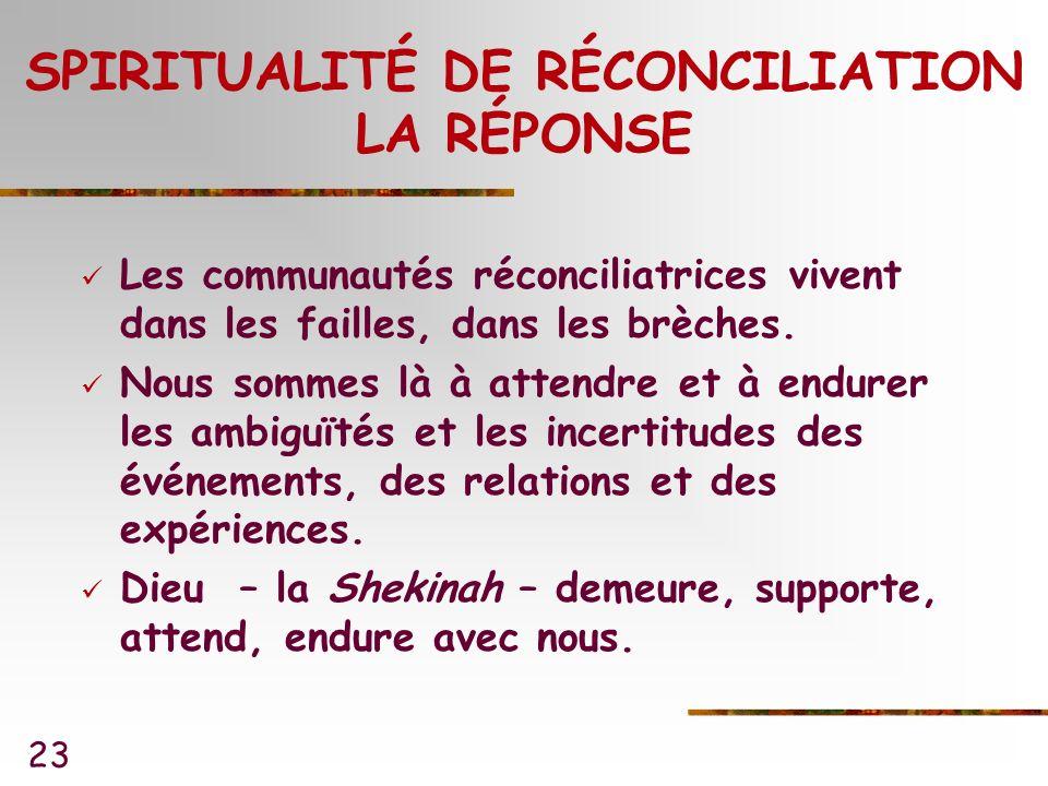23 SPIRITUALITÉ DE RÉCONCILIATION LA RÉPONSE Les communautés réconciliatrices vivent dans les failles, dans les brèches.