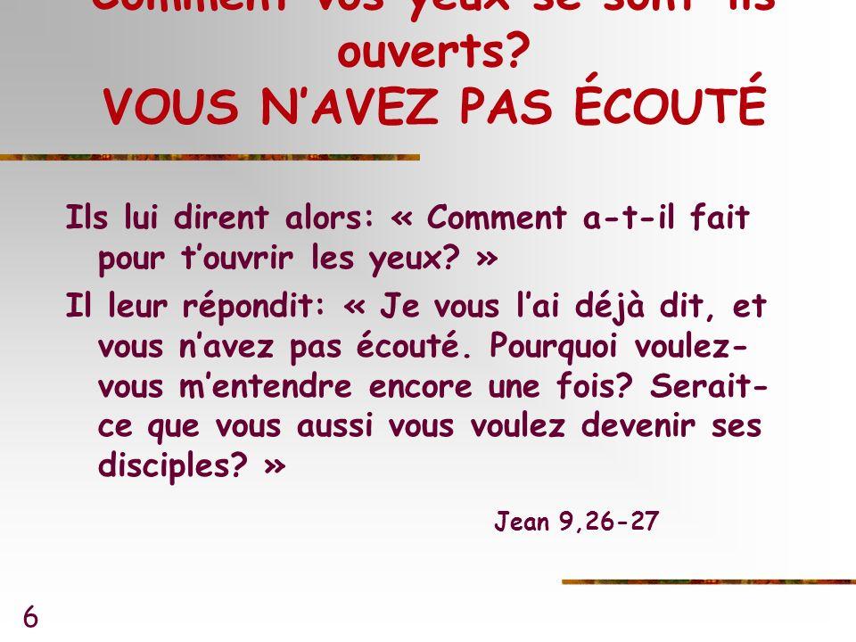 7 Comment vos yeux se sont-ils ouverts.TU LAS VU Jésus apprit quils lavaient expulsé.