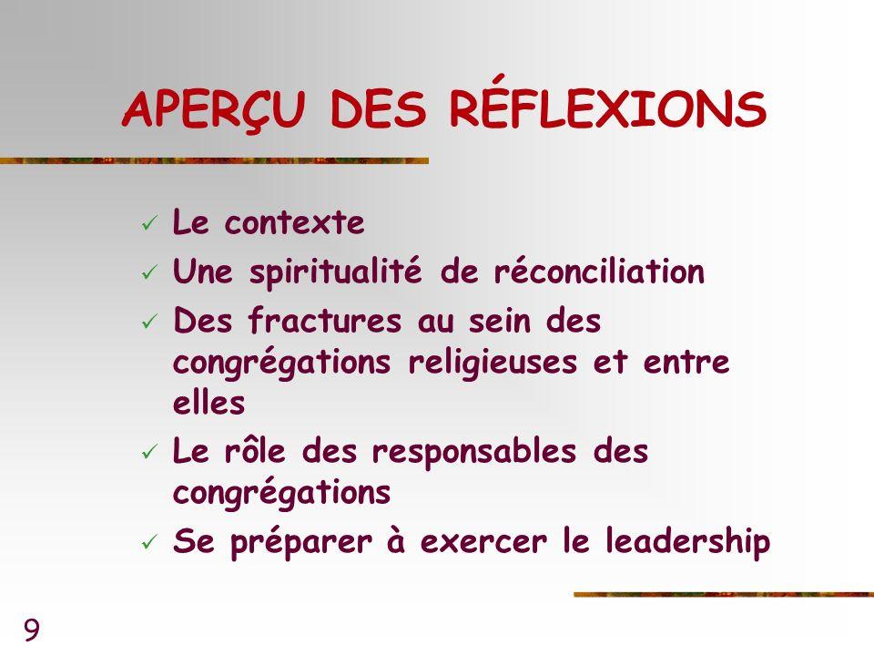 9 APERÇU DES RÉFLEXIONS Le contexte Une spiritualité de réconciliation Des fractures au sein des congrégations religieuses et entre elles Le rôle des responsables des congrégations Se préparer à exercer le leadership