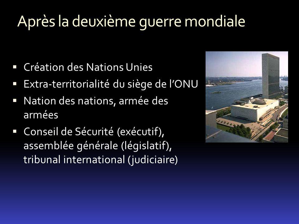 Après la deuxième guerre mondiale Création des Nations Unies Extra-territorialité du siège de lONU Nation des nations, armée des armées Conseil de Séc
