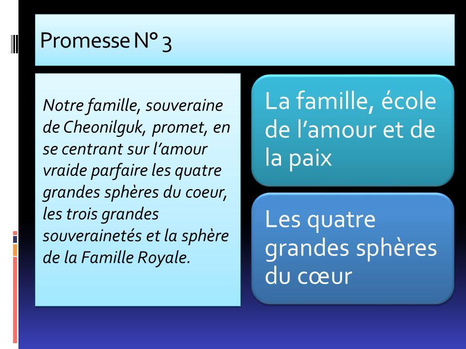 Promesse N° 3 Notre famille, souveraine de Cheonilguk, promet, en se centrant sur lamour vraide parfaire les quatre grandes sphères du coeur, les troi