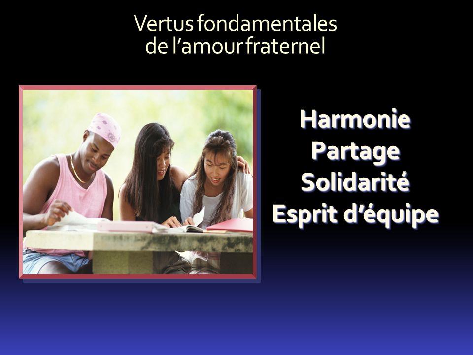 Vertus fondamentales de lamour fraternel HarmoniePartageSolidarité Esprit déquipe HarmoniePartageSolidarité