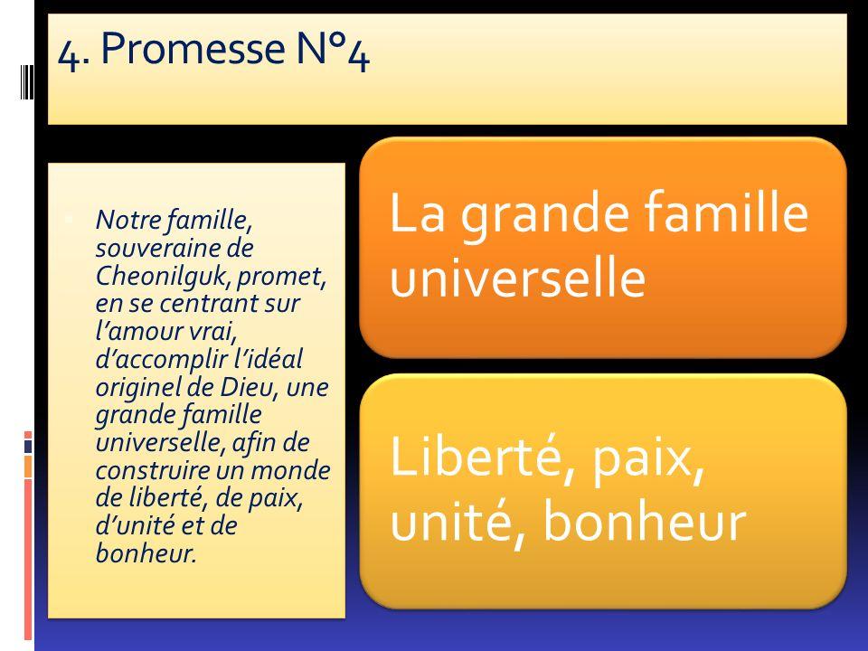 4. Promesse N°4 La grande famille universelle Liberté, paix, unité, bonheur Notre famille, souveraine de Cheonilguk, promet, en se centrant sur lamour